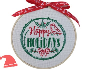 """Happy Holidays - 14cm (5.5"""") Embroidered Hoop Hanging Christmas Decoration"""