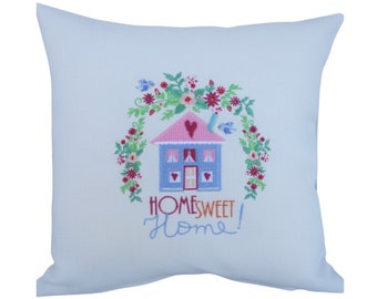 Home Sweet Home - Embroidered Decorative Feature Cushion, Throw Pillow