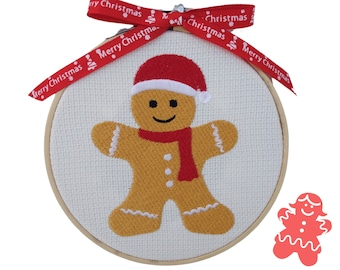"""Gingerbread Man - 14cm (5.5"""") Embroidered Hoop Hanging Christmas Decoration"""