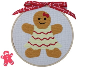 """Gingerbread Lady - 14cm (5.5"""") Embroidered Hoop Hanging Christmas Decoration"""