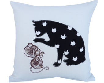 Cat & Mouse - Appliqué Embroidered Decorative Feature Cushion, Throw Pillow