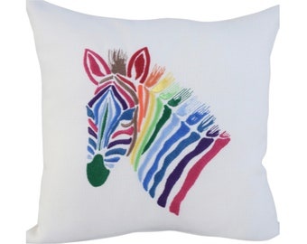 Rainbow Zebra - Embroidered Decorative Feature Cushion, Throw Pillow