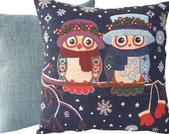"Winter Owls - 43cm (17"") Decorative Feature Cushion, Throw Pillow"