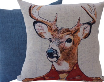 """Stag - 43cm (17"""") Decorative Feature Cushion, Throw Pillow"""