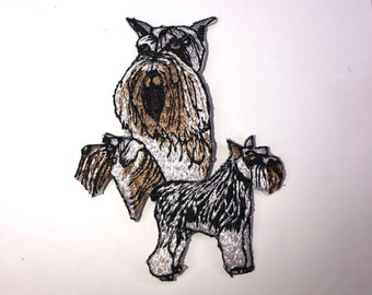 EMBROIDERED SCHNAUZER PATCH iron-on applique DOG MINIATURE STANDARD GIANT PEPPER