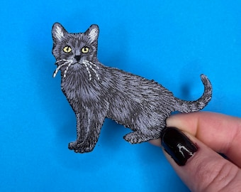 ID 2925 Cat Symbol Patch Kitty Kitten Pet Craft Embroidered Iron On Applique