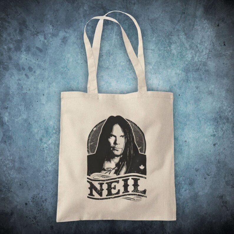 Neil Tribute Canadian Folk Rocker Legend Guitarist Unofficial Cotton Tote Bag Shopper