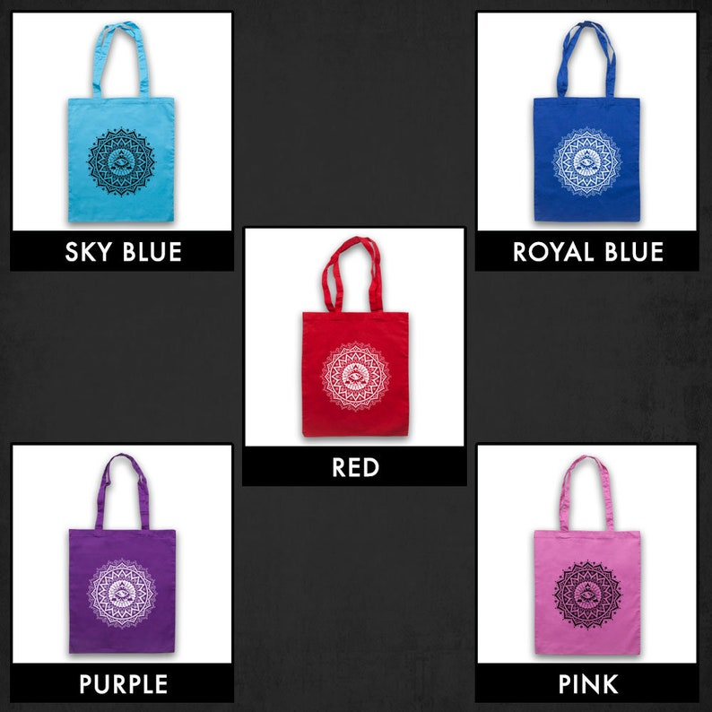 Mandala Geometric Spiritual Symbol Graffiti Style Art Third Eye Unofficial Cotton Tote Bag Shopper