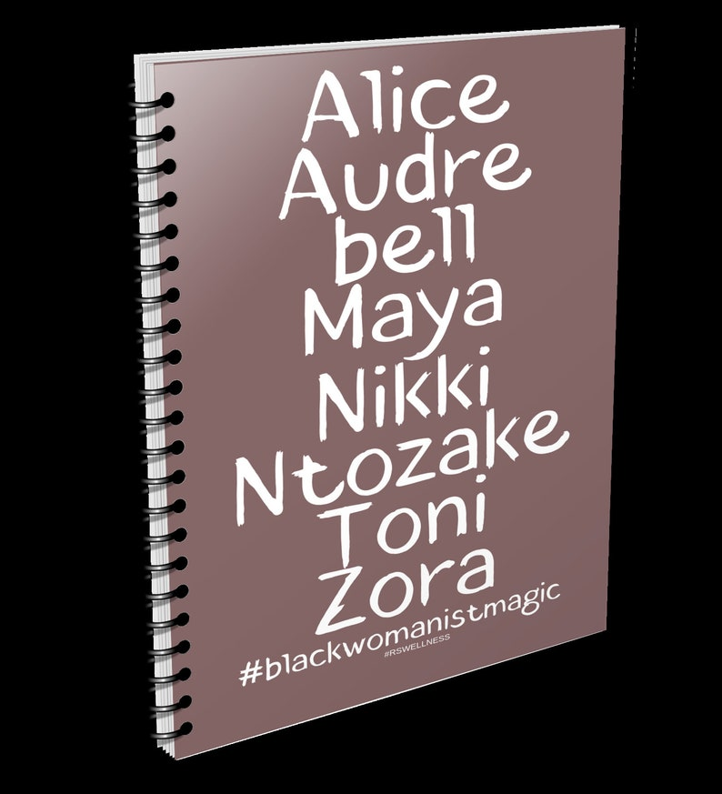 Black Womanist Magic notebook perfect for notes or journal. Brown Notebook