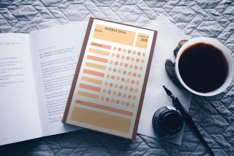Monthly Planner sheets used for weekly goal setting and steps image 0
