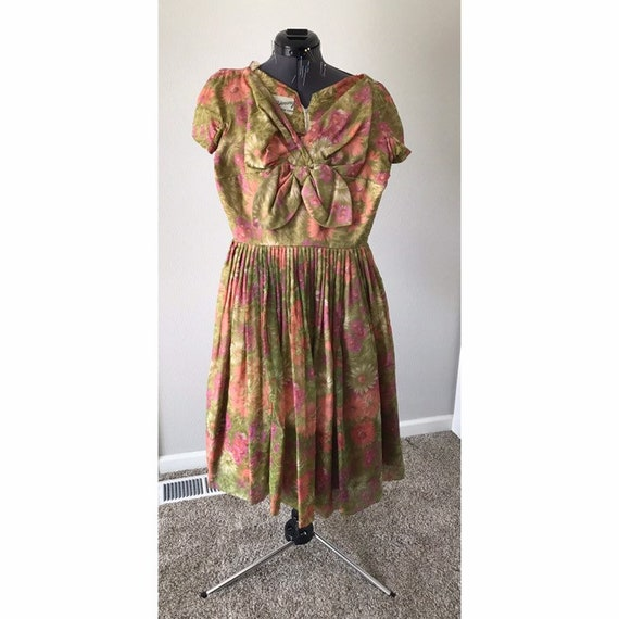 1960's Extra small floral day dress