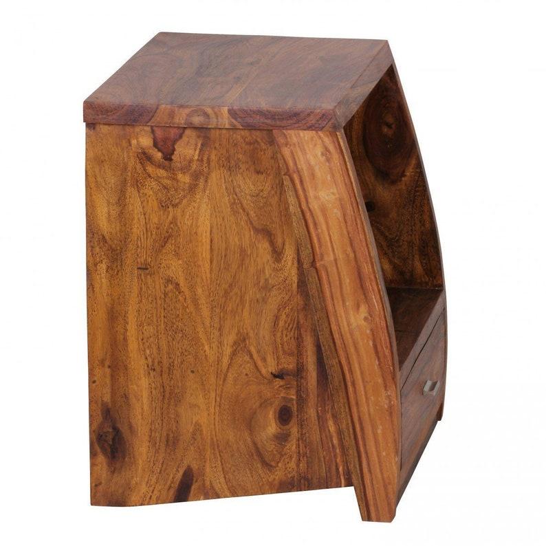 Solid Wood Slant Bedside with Drawer