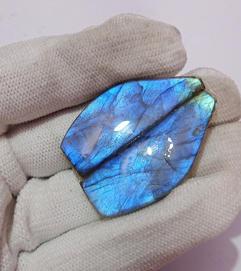 44 Cts.Fabulous AAA 42x21x3 MM 100/% Natural Multi Fire Labradorite Fancy Shape Cabochon Pair Loose Gemstone For Making Jewelry