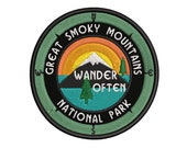 Great Smoky Mountains National Park North Carolina - 3.5 quot Embroidered Patch DIY Iron On Sew On Hook Back Vacation Souvenir Travel Decorative