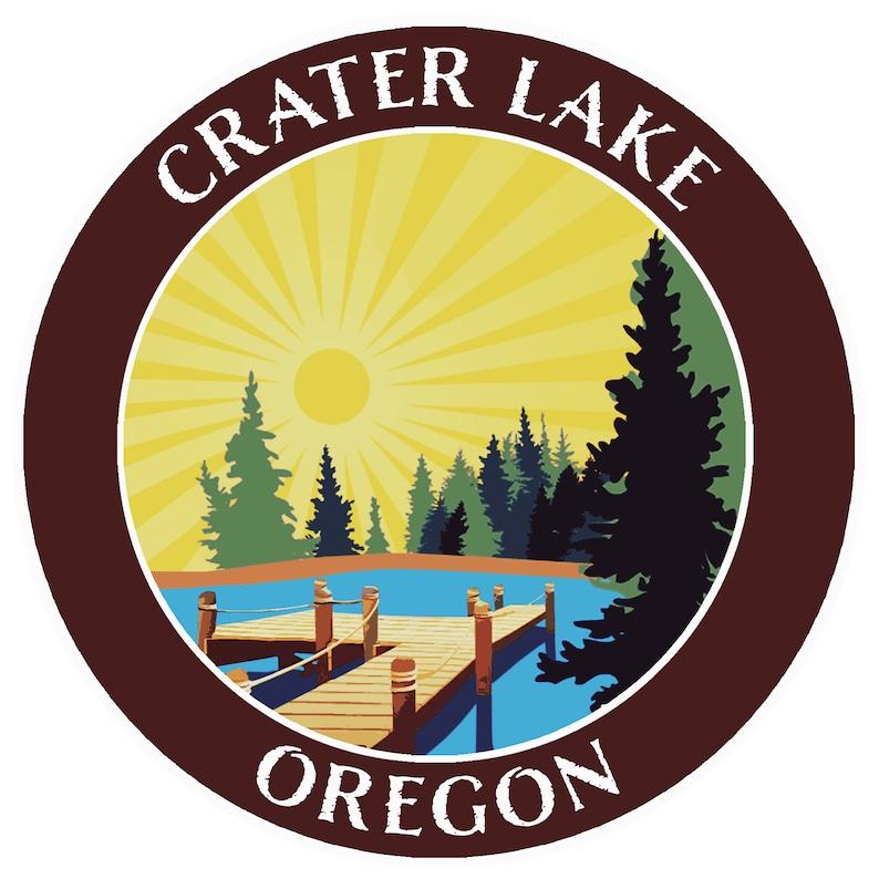 Crater Lake Oregon 3.5 Die-Cut Vinyl Decal Sticker Vacation Adventure Theme Automotive  Home Novelty Applique