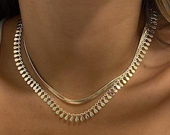 Gold choker necklace set / choker necklace / snake necklace / layer necklace set / layering necklace / dainty choker / herringbone necklace