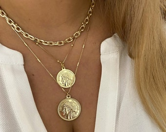 Necklace for Women Gold Pendant Necklace Dragon Necklace Stamped Necklace Boho Stamped Jewelry Gold Medallion Necklace Layer Necklace
