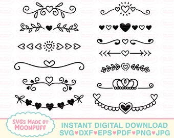 Heart Text Divider SVG Silhouette Cut File Love svg Instant Download Valentines Clipart Love PNG Cricut Cut File Heart SVG Divider