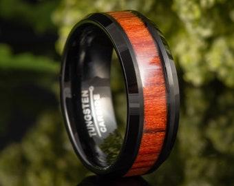 Dark Mahogany Wood Inlay Ring, Mens Tungsten Wood Inlay Ring, Engagement Ring Mens, Engraved Promise Ring, Anniversary Ring 8mm Band