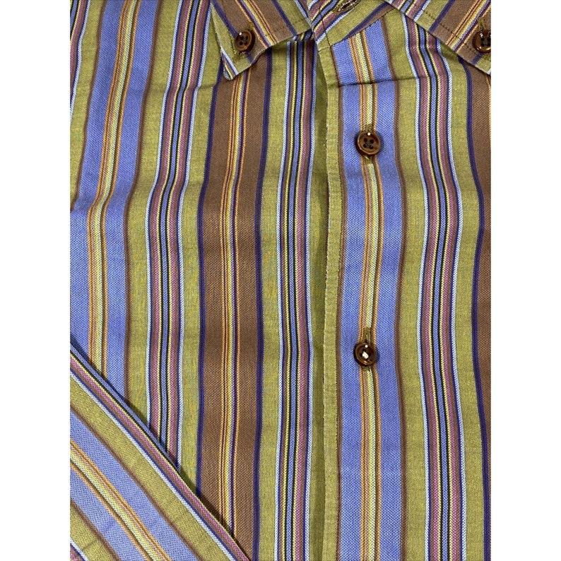 Robert Talbott Green Brown Striped Long Sleeve Dress Shirt Size XL Men\u2019s Button