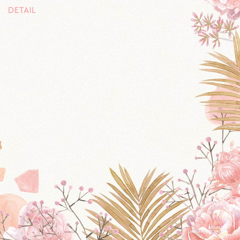 watercolor clipart beige nude greenery tropical dried palm leaf abstract wedding english rose frame romantic digital png instant download