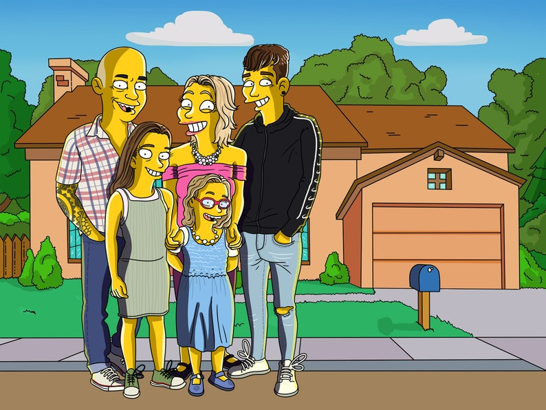 Easter Gift SIMPSONS PORTRAIT Simpsons Caricature Simpsons Family Portrait Mothers Day Gifts Boyfriend Girlfriend Gifts The Simpsons