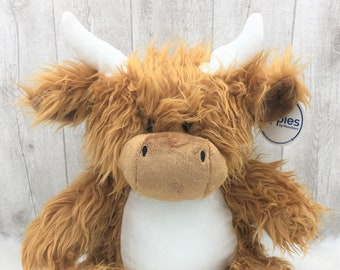 Cuddly Cow/Highland Cow - Personalized Cuddly Toy - Plush Toy for Birth/Baptism, School Start o.  other occasions individually embroidered