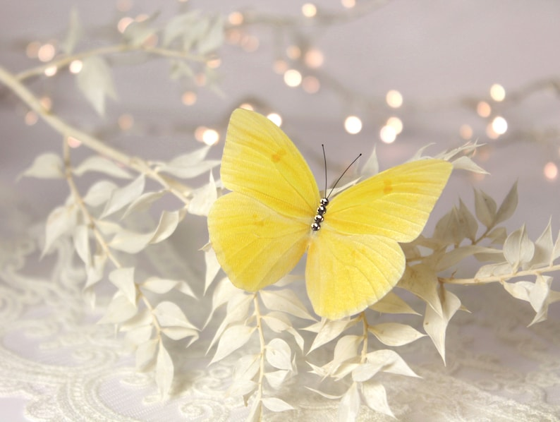 Yellow Butterfly brooch Silk Butterfly pin Insect jewelry Butterfly gift