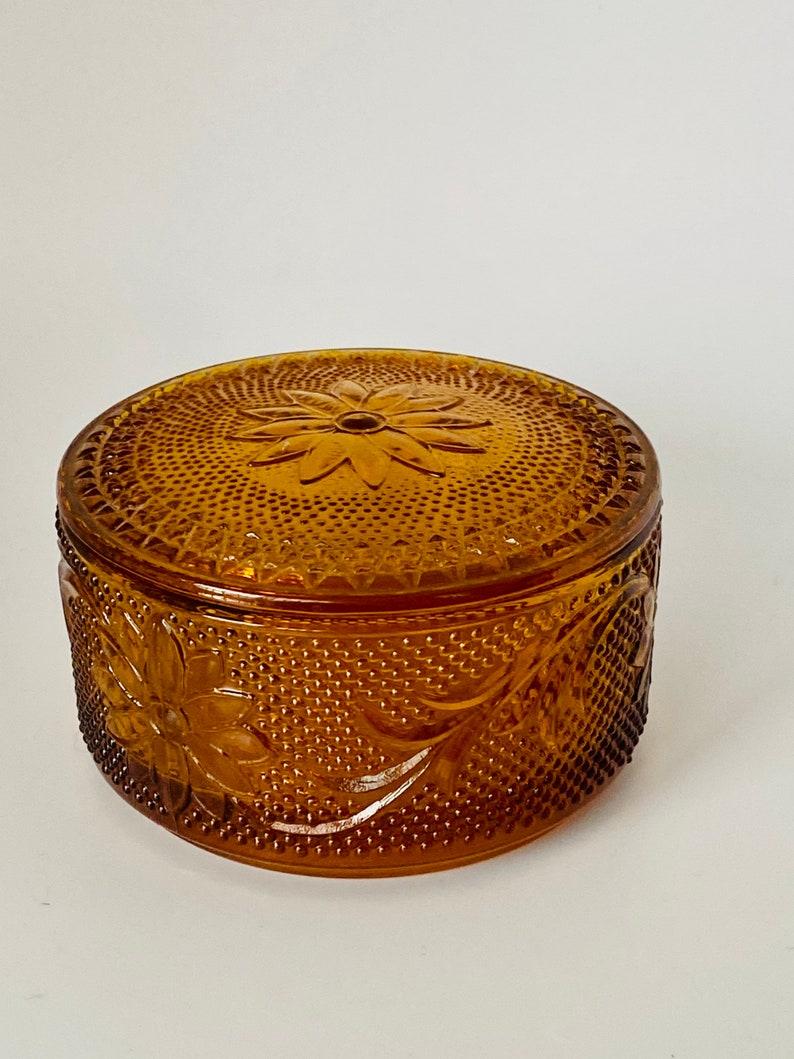 1970s Tiara Amber Glass Powder Puff Trinket Box With Lid