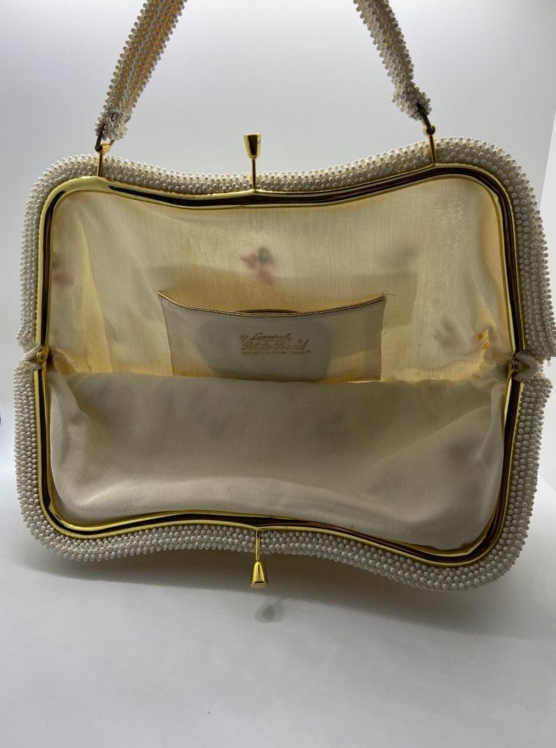 Vintage Lumured Petite-Bead 1960 Handbag With Beading And Roses Original Mirror Inside Pocket Made In USA