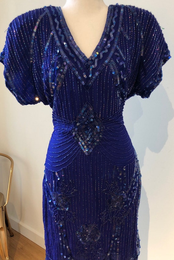 Vintage Stenay Sequined Dress with Keyhole Back