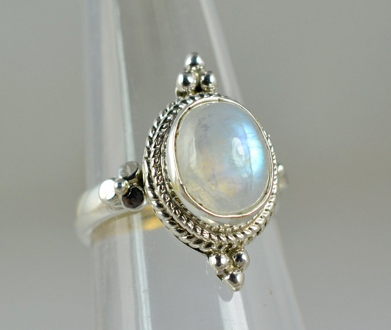 Rainbow Moonstone Ring,925 Sterling Silver,Ring for Women,Boho Simple Ring,Birthstone Gemstone Ring,Jewelry,Statement Ring,Handmade Ring