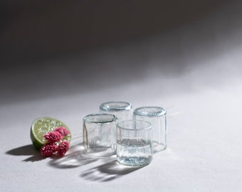 Shot glasses set, 4 up-cycled shot glasses made of used glass, approx. 3 cl