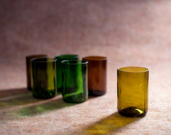 Drinking glasses set, 6 upcycled glasses of wine bottles, many different colors, combinable, approx. 300 ml