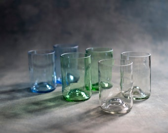 Drinking glasses set, 6 recycled glasses from wine bottles, different colors, combinable