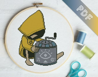 printable PDF pattern Little Nightmares Video game cross stitch pattern PDF instant download Six and Mono
