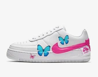 Blauer Schmetterling Nike Air Max 90 Benutzerdefinierte Nike Schmetterling Schuhe Zoll Schuhe Benutzerdefinierte Nike Schuhe Zoll Schmetterling