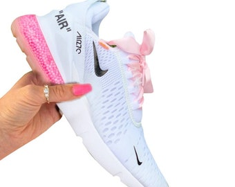Off white Nike custom Air max 270,beaded shoes,painted Nike shoes