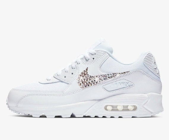 Swarovski Women's Nike Air Max 90 University Sneakers Blinged Out With Authentic Clear Swarovski Crystals Custom Bling Nike Shoes