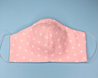 Pink Cloth Face Mask With Filter Pocket and Nose Wire - Washable Reusable - 100% Cotton - Adult Women's - Fast Shipping