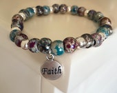 Faith bracelet, beaded bracelet, Christian, gifts for women, stack, stackable, layer, Christian gift