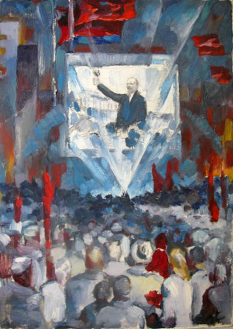 Ukrainian artist Bondarenko socialist realism Lenin was written in the 1970s oil on cardboard author N N ORIGINAL VINTAGE PAINTING
