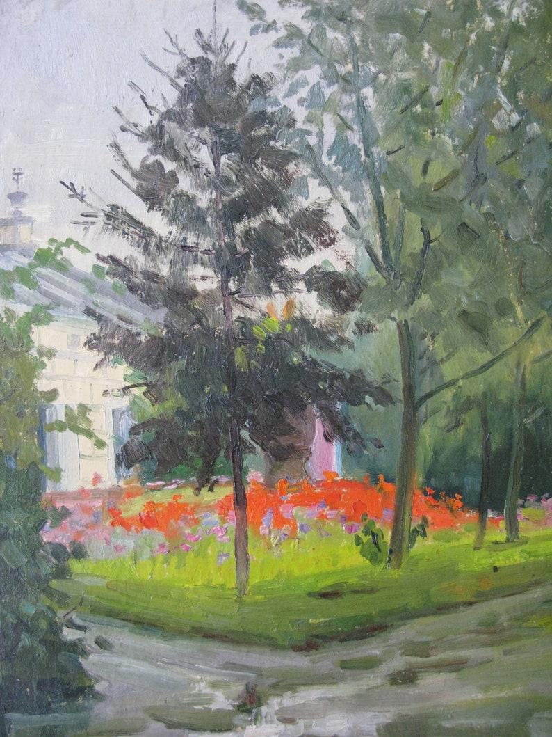 socialist realism Ukrainian artist Y VINTAGE ORIGINAL PAINTING In the park Minyaylo. landscape 1960