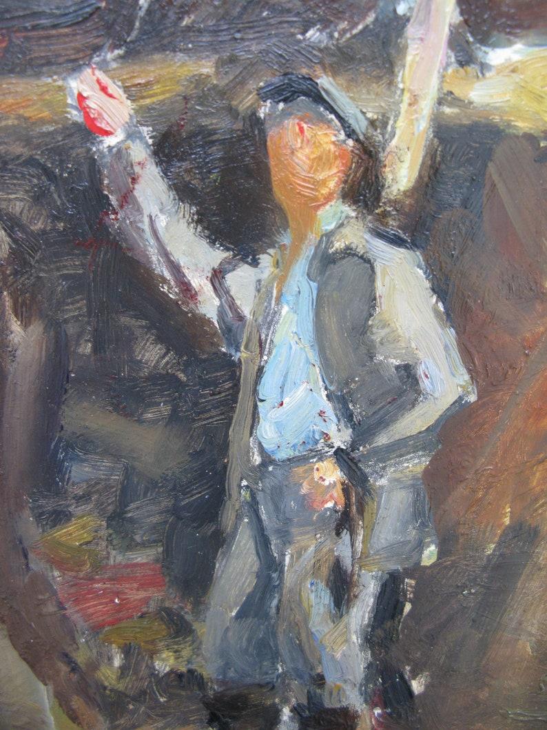 painting of the 2000s Ukrainian artist V Samchuk cardboard Farmwork genre socialist realism VINTAGE ORIGINAL PAINTING oil