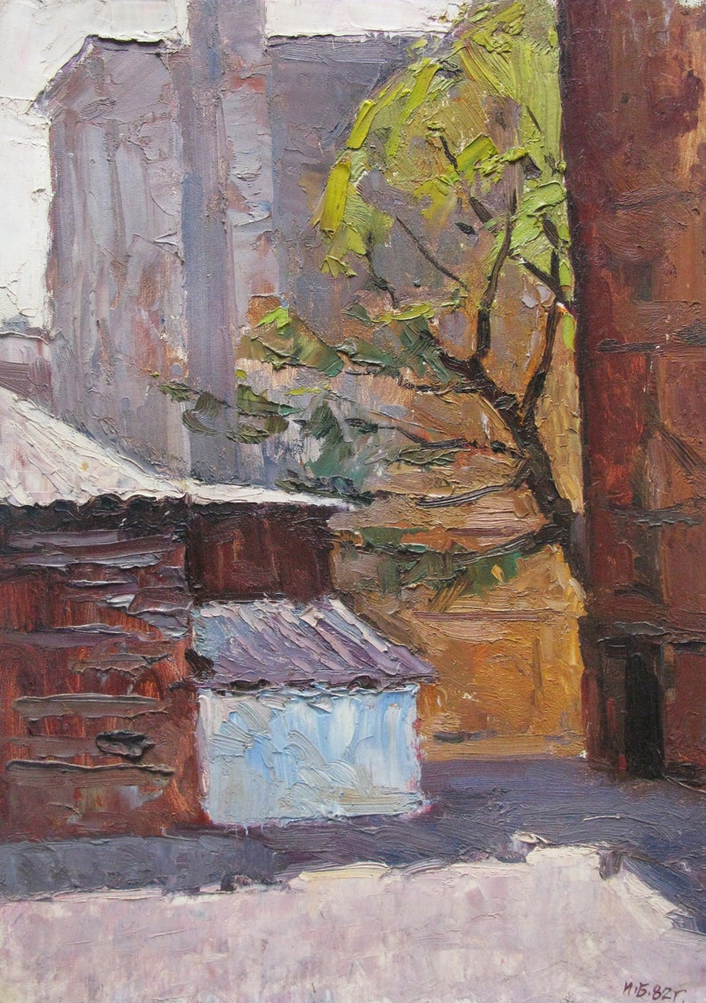 landscape Near the house VINTAGE ORIGINAL PAINTING 1980s oil on cardboard Ukrainian artist I socialist realism Babenko genre