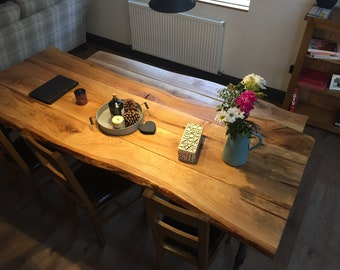 Handcrafted Solid Oak live Edge Rustic Dining / Kitchen 85cm depth Table Industrial Steel Legs ..Benches also available