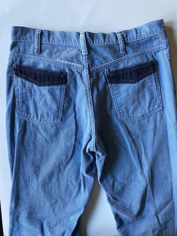 Vintage 1970s Light Blue Corduroy Pants - Size 33