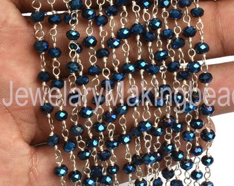 Beautiful Blue Titanium Pyrite Hydro Rondelle Beads chain 3,5,10,50 Ft 3 mm Silver Plated Rosary Chain Silver Necklace For Jewelry Making