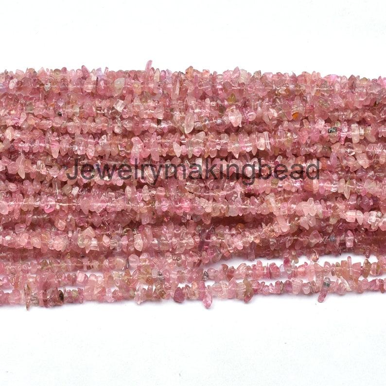 Natural Pink Tourmaline Gemstone Uncut Chips Raw Beads,34 Strand Pink Tourmaline Smooth Rough Nugget Raw Beads,Jewelry Making Crafts SALE