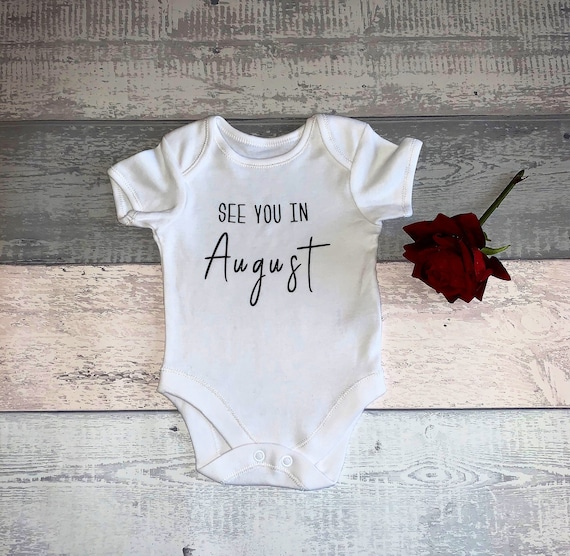 Pregnancy Baby Announcement Baby Vest Grow Bodysuit Personalised Name Floral 1